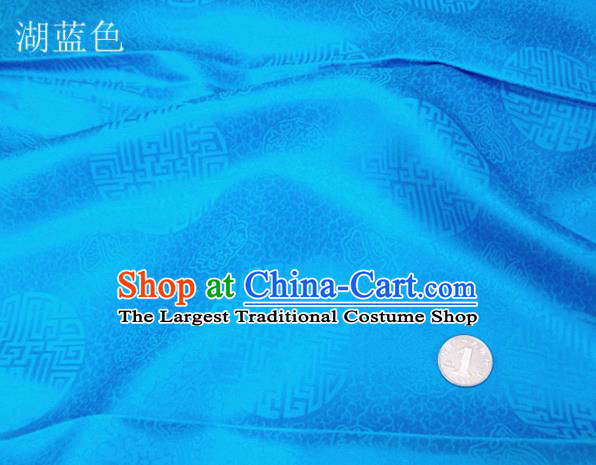 Traditional Chinese Royal Pattern Design Blue Brocade Fabric Silk Fabric Chinese Fabric Asian Material