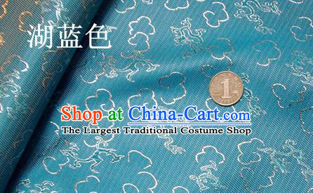 Traditional Chinese Royal Dragons Pattern Blue Brocade Tang Suit Fabric Silk Fabric Asian Material
