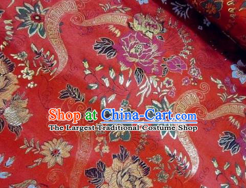 Traditional Chinese Royal Peony Flowers Pattern Red Brocade Tang Suit Fabric Silk Fabric Asian Material
