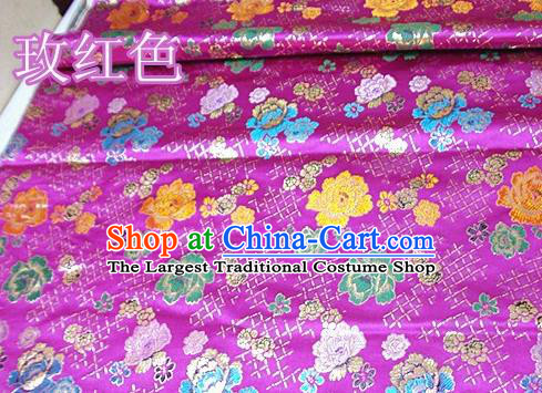 Traditional Chinese Royal Roses Pattern Rosy Brocade Tang Suit Fabric Silk Fabric Asian Material