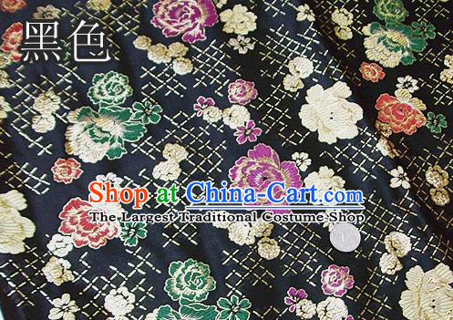 Traditional Chinese Royal Roses Pattern Black Brocade Tang Suit Fabric Silk Fabric Asian Material