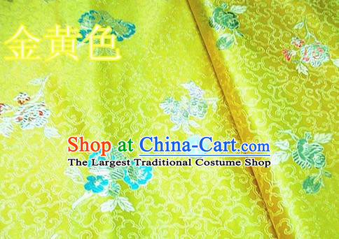 Traditional Chinese Royal Pattern Golden Brocade Tang Suit Fabric Silk Fabric Asian Material