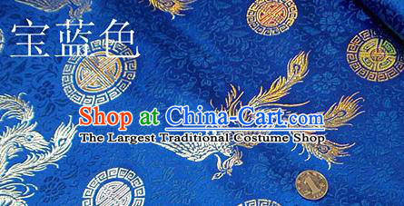 Traditional Chinese Royalblue Brocade Tang Suit Royal Phoenix Pattern Fabric Silk Fabric Asian Material