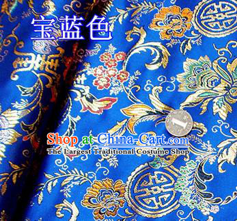 Traditional Chinese Royalblue Brocade Tang Suit Palace Fabric Silk Fabric Asian Material