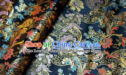 Traditional Chinese Royal Pattern Black Brocade Tang Suit Fabric Silk Fabric Asian Material