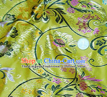 Traditional Chinese Royal Pattern Yellow Brocade Tang Suit Fabric Silk Fabric Asian Material