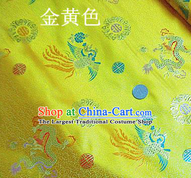 Traditional Chinese Royal Dragon Phoenix Pattern Golden Brocade Tang Suit Fabric Silk Fabric Asian Material
