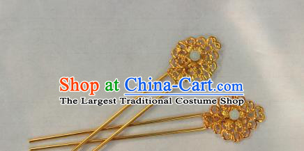 Traditional Chinese Ancient Tang Dynasty Princess Hair Accessories Golden Hairpins for Women