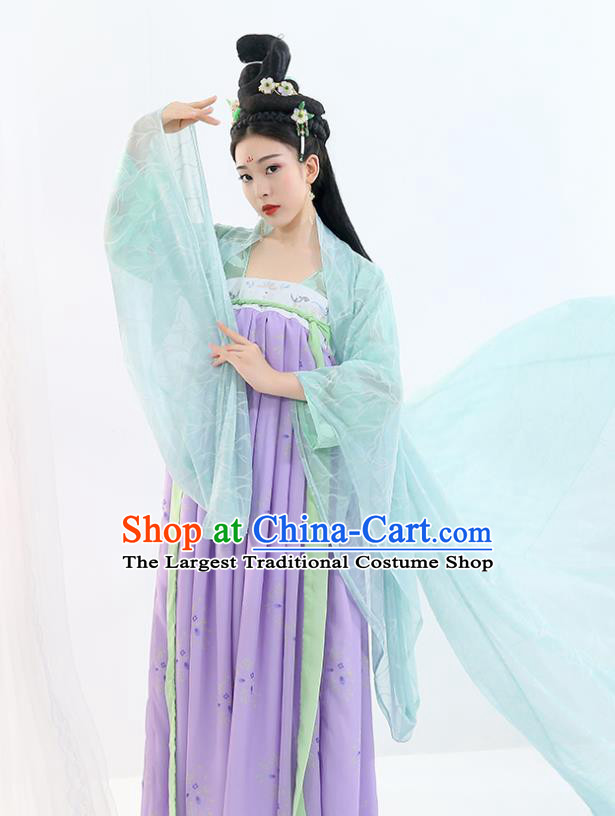 Chinese Ancient Drama Peri Purple Hanfu Dress Traditional Tang Dynasty Imperial Concubine Costumes for Women