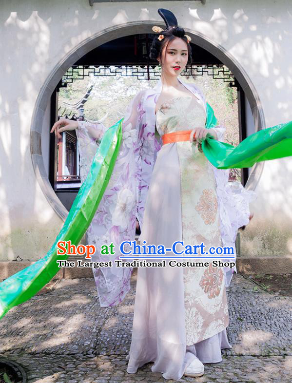 Chinese Ancient Drama Flying Apsaras Peri Hanfu Dress Traditional Tang Dynasty Princess Costumes for Women