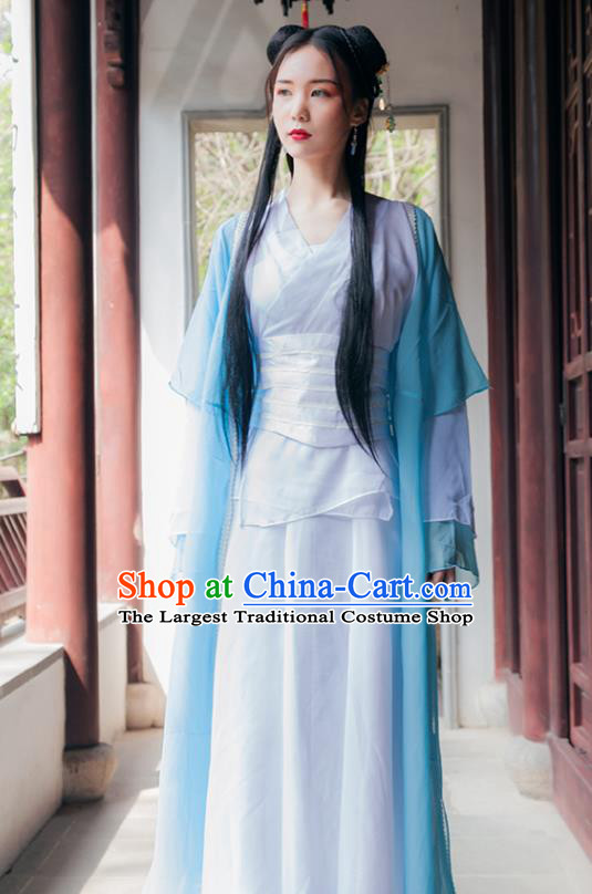 Chinese Ancient Drama Swordswoman Hanfu Dress Traditional Song Dynasty Female Knight Costumes for Women
