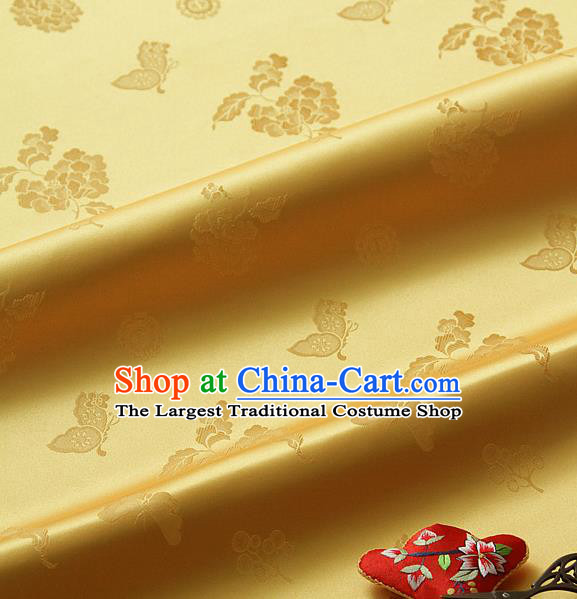 Traditional Asian Classical Peony Butterfly Pattern Yellow Brocade Cloth Drapery Korean Hanbok Palace Satin Silk Fabric