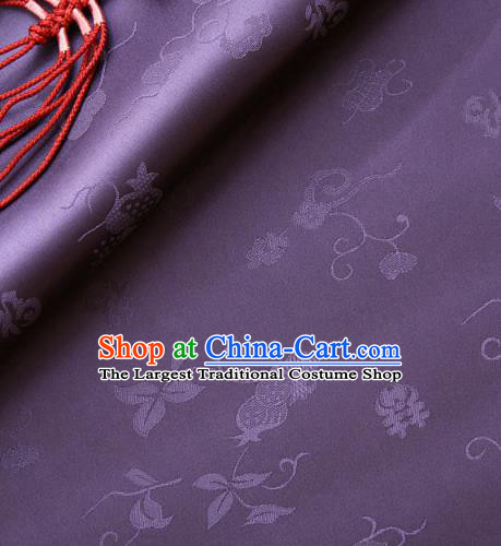 Traditional Asian Classical Pattern Purple Brocade Cloth Drapery Korean Hanbok Palace Satin Silk Fabric
