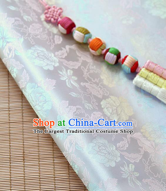 Asian Traditional Classical Pattern White Brocade Cloth Drapery Korean Hanbok Palace Satin Silk Fabric