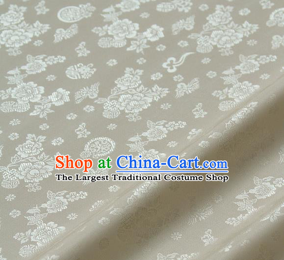 Asian Traditional Classical Peony Pattern White Brocade Cloth Drapery Korean Hanbok Palace Satin Silk Fabric