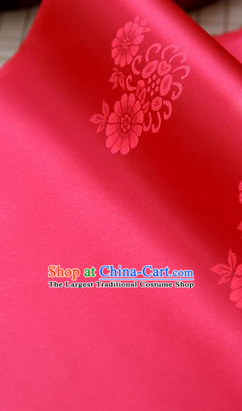Asian Traditional Classical Pattern Red Brocade Cloth Drapery Korean Hanbok Palace Satin Silk Fabric
