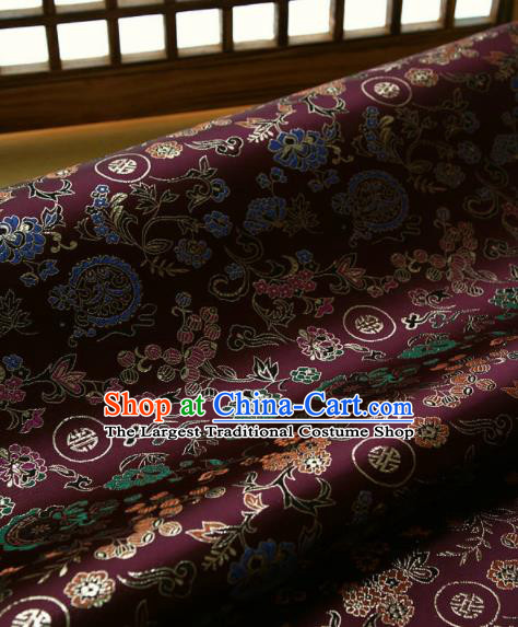 Asian Traditional Classical Pattern Wine Red Brocade Cloth Drapery Korean Hanbok Palace Satin Silk Fabric