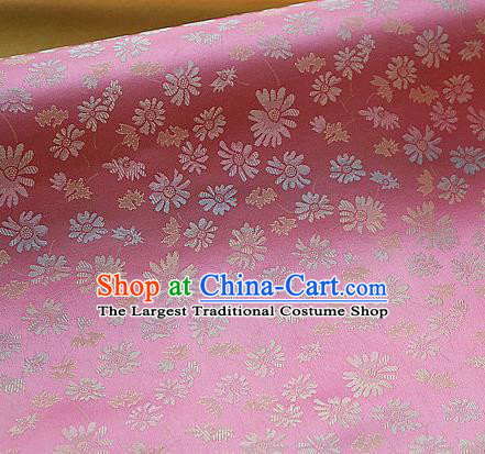 Asian Traditional Classical Pattern Pink Brocade Cloth Drapery Korean Hanbok Palace Satin Silk Fabric