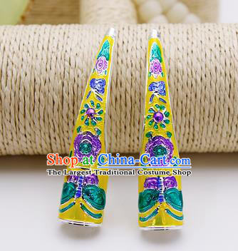 Chinese Traditional Finger Accessories Ancient Palace Lady Cloisonne Yellow Fingernail Wrap for Women