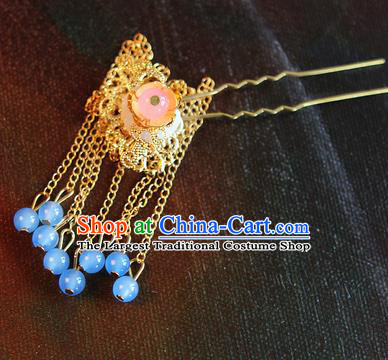 Chinese Traditional Hair Accessories Hair Clip Ancient Princess Golden Tassel Hairpins for Women