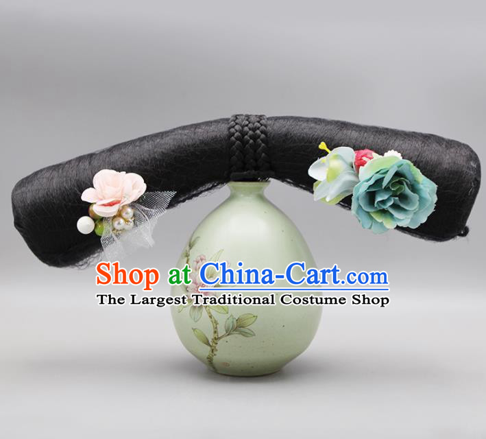 Chinese Traditional Qing Dynasty Hair Accessories Ancient Manchu Palace Lady Wigs and Hairpins for Women