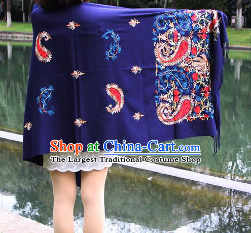 Chinese Traditional Embroidered Scarf Yunnan National Blue Wool Cloak for Women