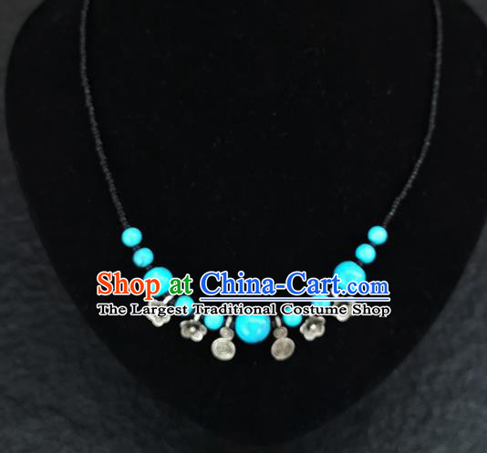 Chinese Traditional Jewelry Accessories Yunnan National Blue Beads Necklace for Women