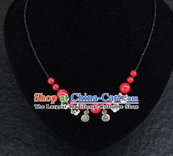 Chinese Traditional Jewelry Accessories Yunnan National Red Beads Necklace for Women