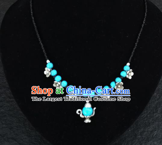 Chinese Traditional Jewelry Accessories Yunnan National Blue Beads Flagon Necklace for Women
