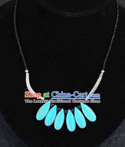 Chinese Traditional Jewelry Accessories Yunnan National Blue Necklace for Women