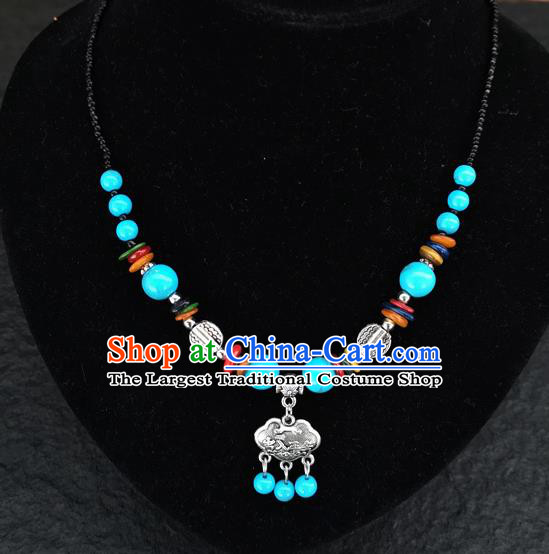 Chinese Traditional Jewelry Accessories Yunnan National Blue Beads Minority Necklace for Women