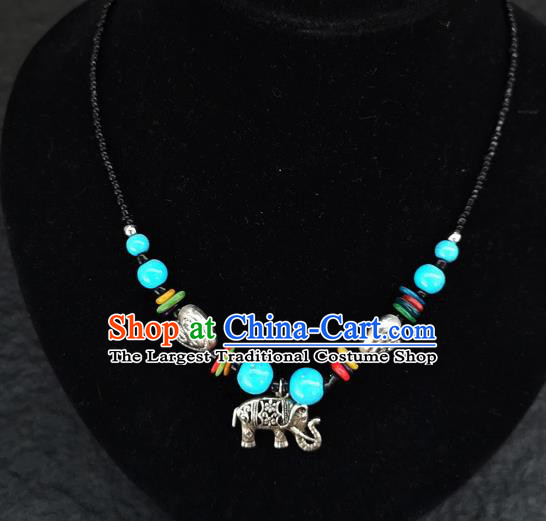 Chinese Traditional Jewelry Accessories Yunnan National Blue Beads Elephant Minority Necklace for Women