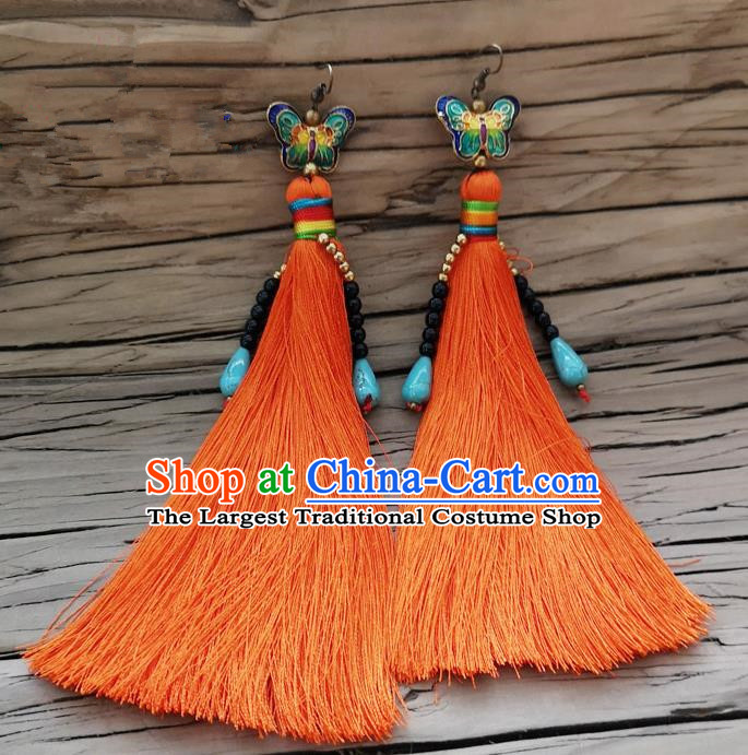 Chinese Traditional Embroidered Butterfly Earrings Yunnan National Orange Tassel Eardrop for Women