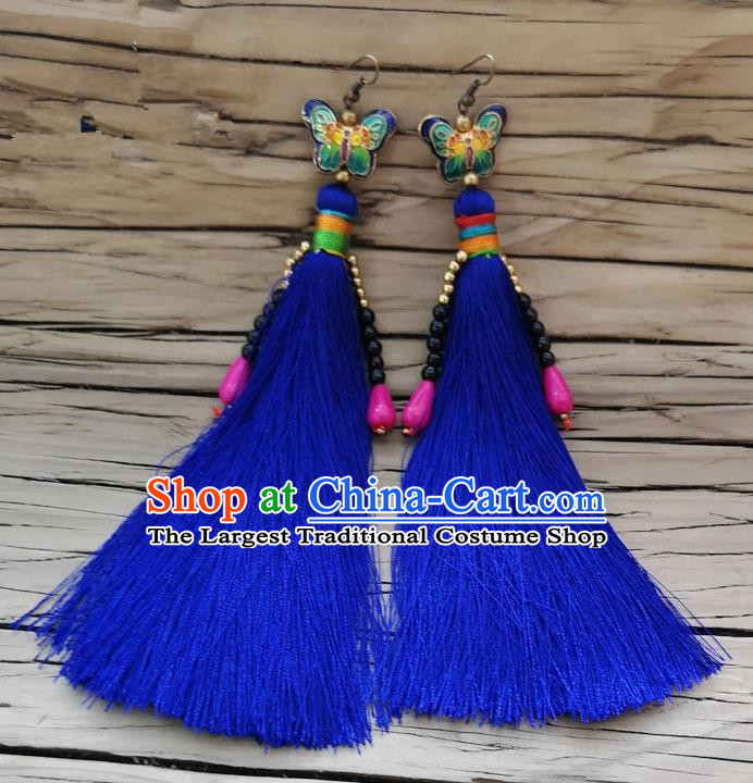 Chinese Traditional Embroidered Butterfly Earrings Yunnan National Royalblue Tassel Eardrop for Women