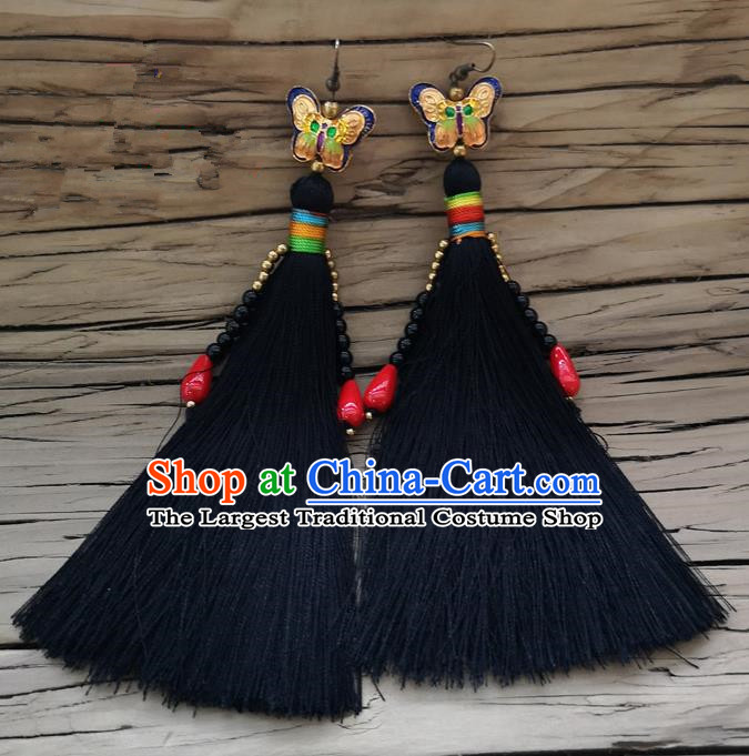 Chinese Traditional Embroidered Butterfly Earrings Yunnan National Black Tassel Eardrop for Women