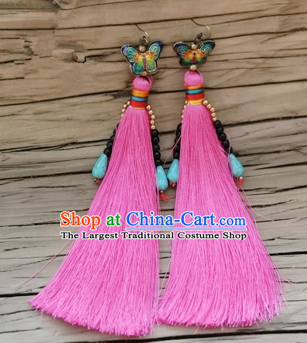Chinese Traditional Embroidered Butterfly Earrings Yunnan National Pink Tassel Eardrop for Women