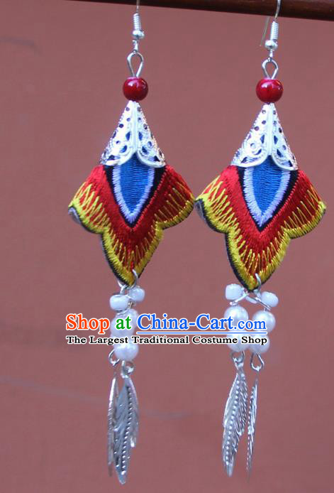 Chinese Traditional Embroidered Red Earrings Yunnan National Tassel Eardrop for Women