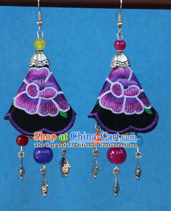 Chinese Traditional Embroidered Purple Earrings Yunnan National Minority Tassel Eardrop for Women