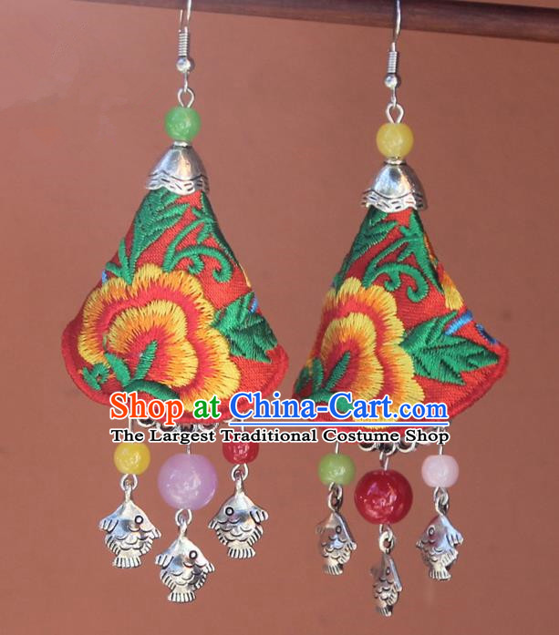 Chinese Traditional Embroidered Red Earrings Yunnan National Minority Tassel Eardrop for Women