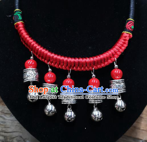 Chinese Traditional Jewelry Accessories Yunnan Minority Sliver Bells Tassel Necklace for Women