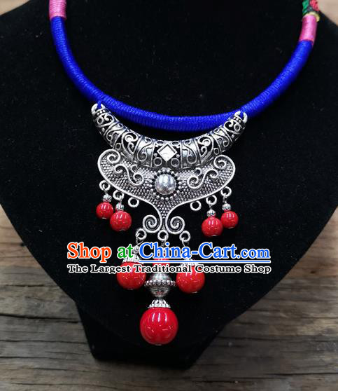 Chinese Traditional Jewelry Accessories Yunnan Minority Sliver Necklace for Women