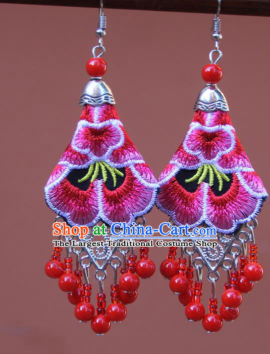 Chinese Traditional Embroidered Pink Peony Earrings Yunnan National Tassel Eardrop for Women