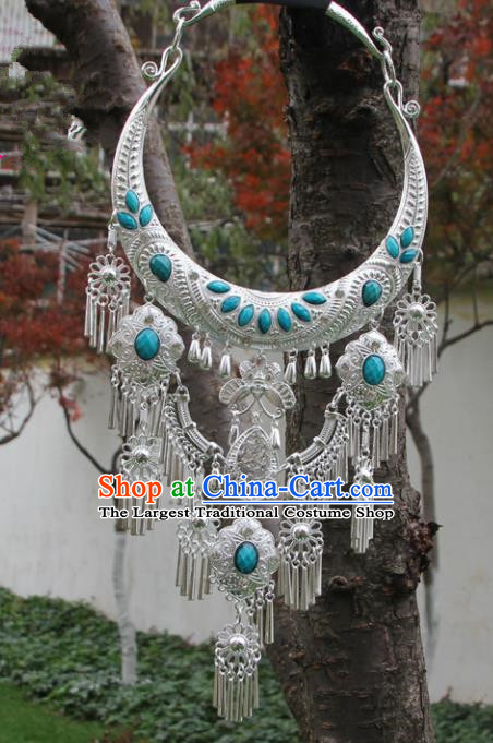 Chinese Traditional Jewelry Accessories Yunnan Miao Minority Sliver Blue Necklace for Women