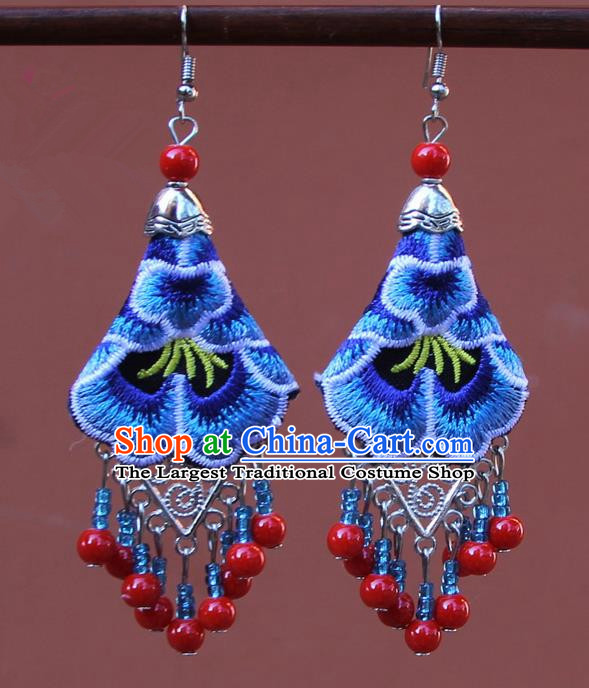 Chinese Traditional Embroidered Blue Peony Earrings Yunnan National Tassel Eardrop for Women