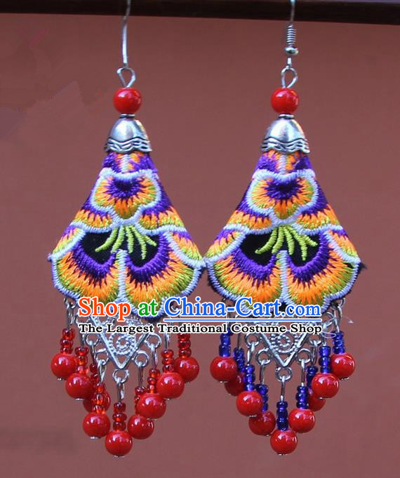 Chinese Traditional Embroidered Purple Peony Earrings Yunnan National Tassel Eardrop for Women