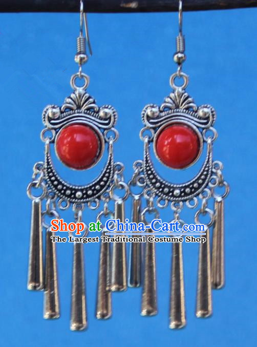 Chinese Traditional Sliver Red Earrings Yunnan National Minority Tassel Eardrop for Women