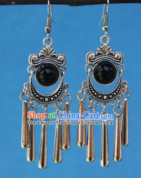 Chinese Traditional Sliver Black Earrings Yunnan National Minority Tassel Eardrop for Women