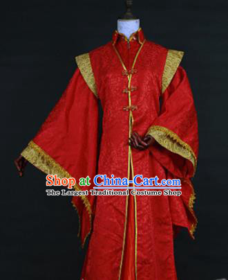 Chinese Traditional Ancient Swordsman Bridegroom Red Costumes for Men