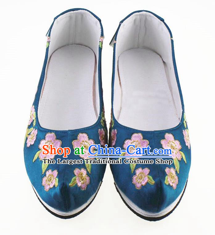 Chinese Traditional Hanfu Shoes Blue Cloth Shoes Ancient Princess Embroidered Shoes for Women