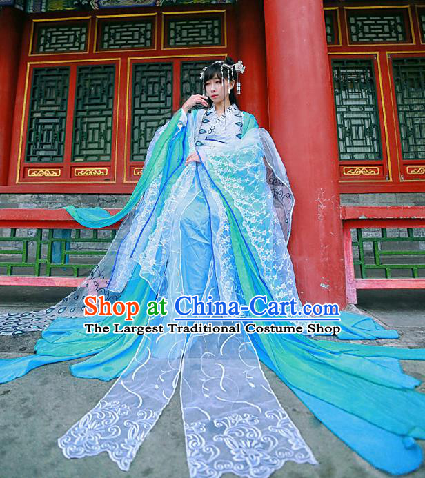 Chinese Traditional Ancient Peri Princess Hanfu Dress Swordswoman Costumes for Women